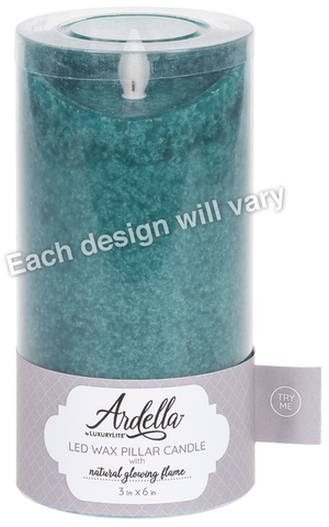 3x6 Wax LED Mottled Pillar Candle - Blue