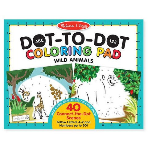 ABC 123 Dot to Dot Coloring Pad - Wild Animals