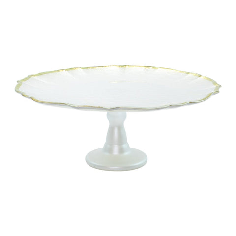 Baroque Glass White Cake Stand