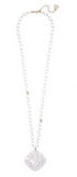 White Beaded Long Necklace with Acetate Pendant