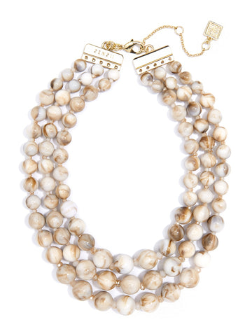 Beige Marbled Beaded Collar Necklace