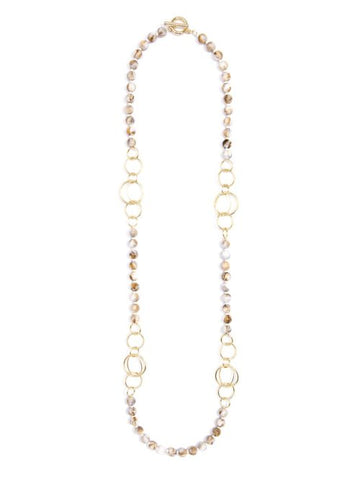 Beige Marbled Resin Beaded Long Necklace with Shiny Metal Links