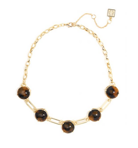 Black/Brown Bevel Set Tortoise Necklace with Oval Links