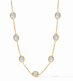 Calypso Delicate  Necklace Gold Chalcedony Blue 17-18-19 Inches