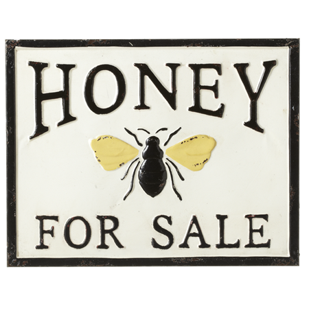 "Enamel ""Honey for Sale"" Wall Decor"
