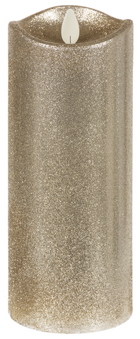 "3x6"" LED Champagne Glitter Wax Pillar Candle"