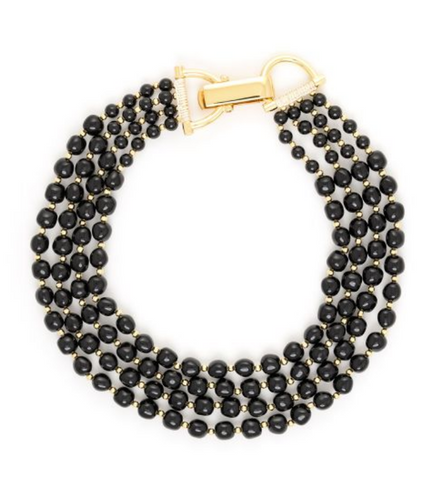 Black Graduated Bead Stone Necklace