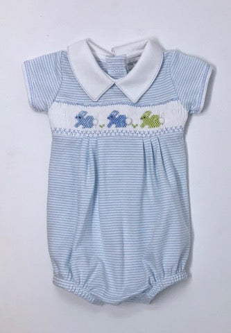 Easter Bunny Classic Smocked Collard Boy Bubble