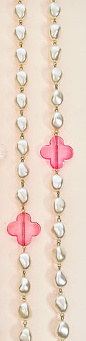 Long Pearl Folli Necklace - Clear Pink