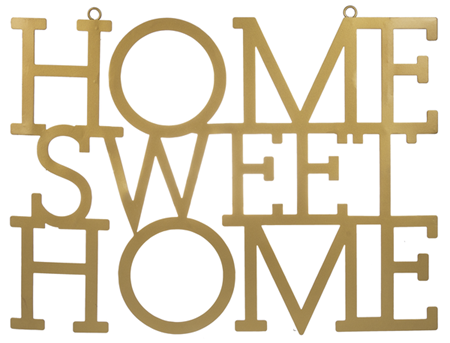 "Laser Cut ""Home Sweet Home"" Gold Wall Decor"
