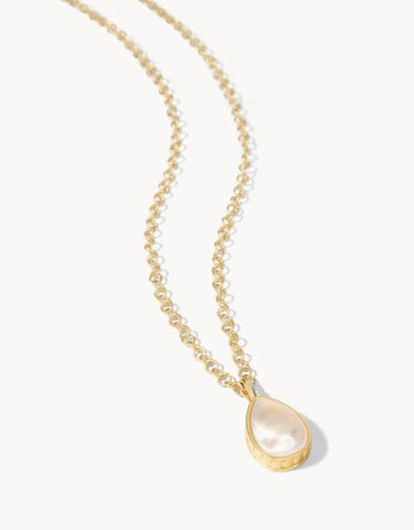 "Teardrop Necklace 16"" White Opal"