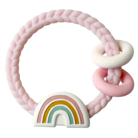 Ritzy Rattle  Silicone Teether Rattle - Rainbow Pink