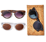 Sunglasses w/ Gold Ring in Cork Pouch