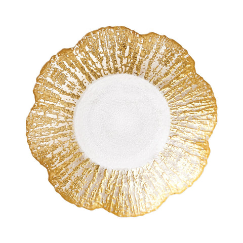 Rufolo Glass Gold Small Shallow Bowl