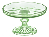 Small Vintage Green Etched Stand with Scallop Edge