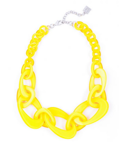 Yellow Mod Resin Link Necklace