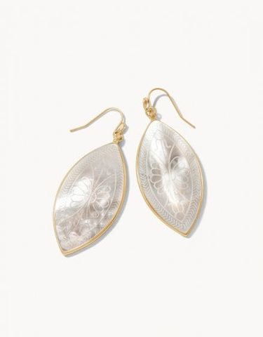 Ashley River Carved Earrings Mother of Pearl