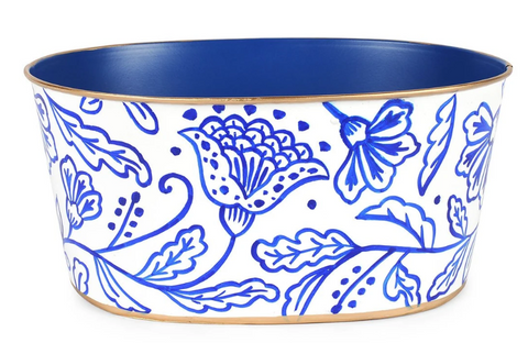 White & Blue Floral Silhouette Tub