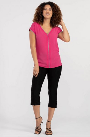 Hot Pink Cap Sleeve Top with Silver Trim