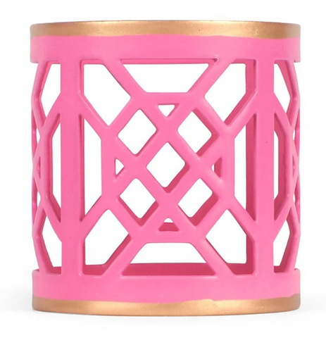 Pink & White Don't Fret Napkin Ring (4 pack)
