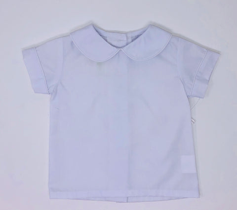 Basic Boy Woven Peter Pan Collar Shirt with White Piping