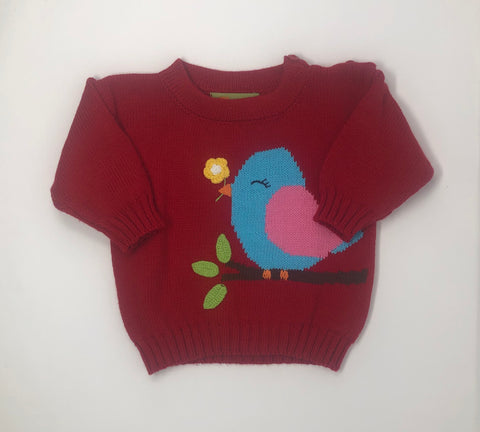 Deep Red Crewneck Sweater with Bird