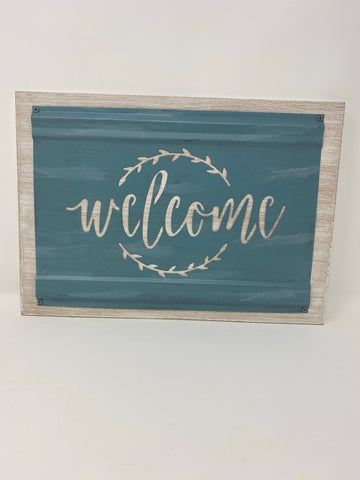 Welcome Blue/Green Sign