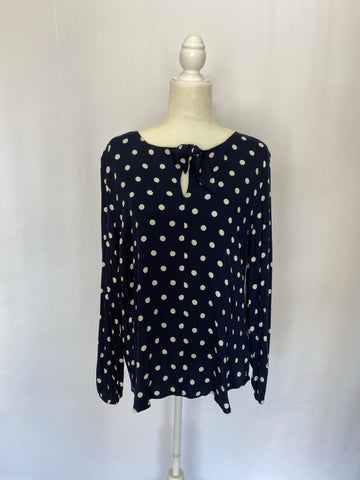 L/S Tie Front Blouse - Blue Night