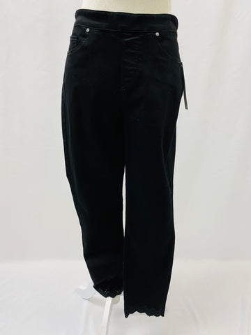 Black Ankle Pant w/ Embroidery