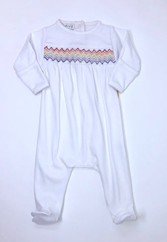 Rainbow Baby Smocked Footie
