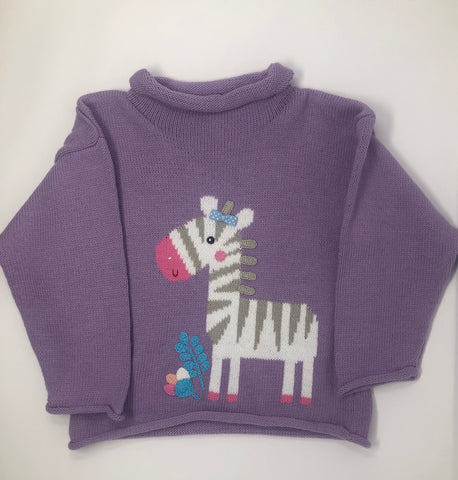 Lavender Roll Neck Zebra Sweater