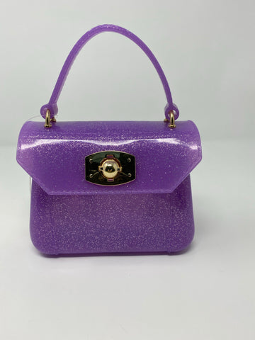 Purple Glitter Top Handle Bag