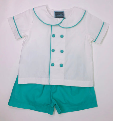 Double Button Peter Pan Set - Island Green
