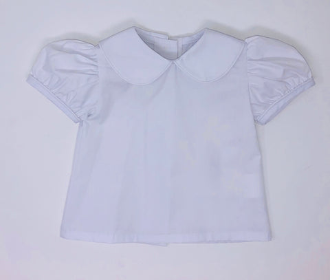 Basic Girl Woven Peter Pan Blouse with White Piping