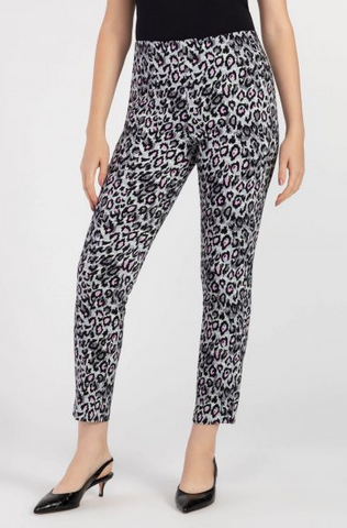 Lilac Animal Print Pull On Ankle Pant