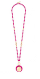 Hot Pink Resin and Matte Coin Beaded Long Necklace