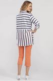 Navy and White Stripe Roll Up Sleeve Blouse