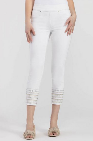 White Pull On Ankle Jegging w/ Embroidered Hem