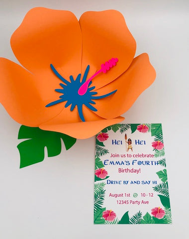 Moana Birthday Invitation next to an orange hibiscus flower