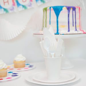 Rainbow Art Party Supplies with White Plates and Cups
