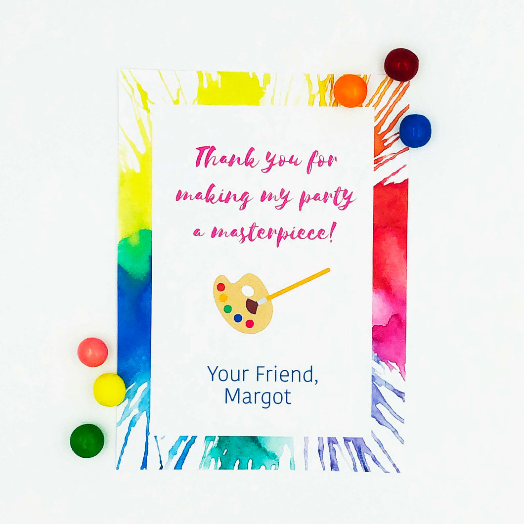 Rainbow Art Party Thank You Note