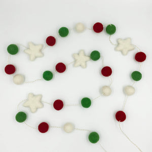 Christmas Felt Garland in red green and white with white stars