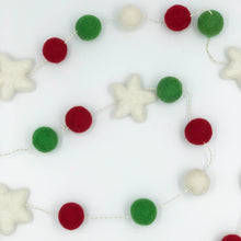 Load image into Gallery viewer, Christmas Felt Garland in red green and white with white stars