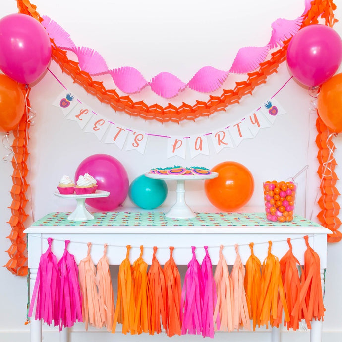 Lets Party Pink and Orange Party Supplies