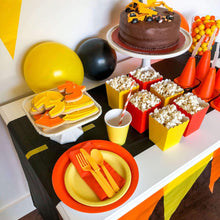 Load image into Gallery viewer, Orange and Yellow Construction Party Plates, cups, napkins and cutlery