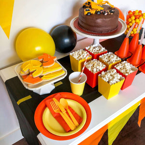 Orange and Yellow Construction Party Plates, cups, napkins and cutlery