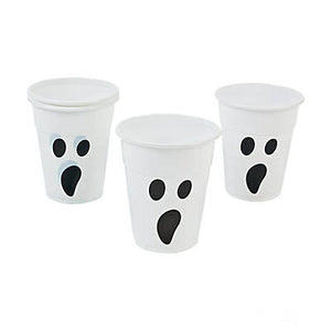 white plastic ghost cups