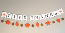 Load image into Gallery viewer, Give Thanks Thanksgiving Banner and Autumn Leaves Banner