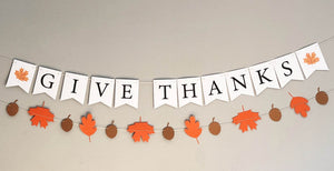 Give Thanks Thanksgiving Banner and Autumn Leaves Banner