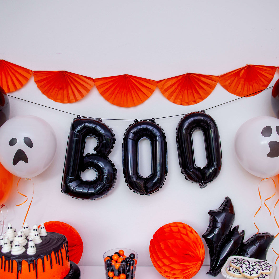 BOO black mylar balloon garland for Halloween